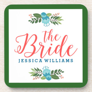 The Bride Coral Red Modern Text & Blue Flowers Drink Coaster