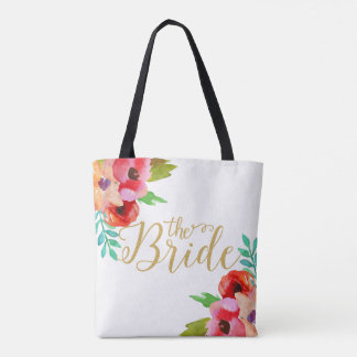 The Bride Gold Modern Text Colorful Floral Accents Tote Bag