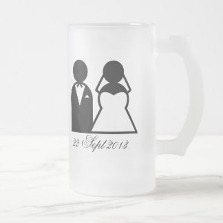 The Bride & Groom Frosted Glass Beer Mug