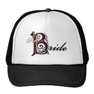 The bride grunge red black letters bridal hat