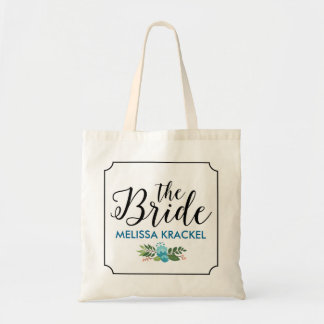 The Bride Modern Black Text Floral Accent Tote Bag