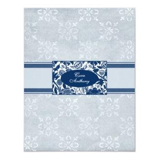 The Bride Navy Blue Wedding reception card