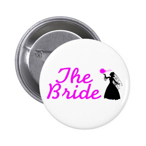 The Bride Pink and Black Bride Button