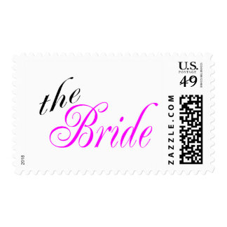 The Bride Pink and Black Postage Stamp