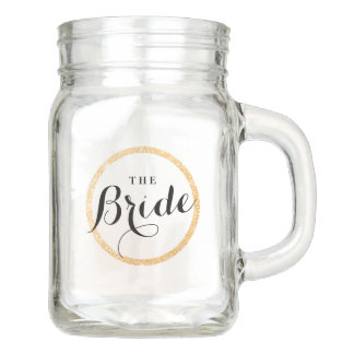 The Bride's Cup with Faux Gold Glitter Ring Mason Jar