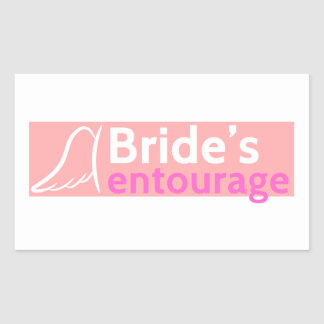 The Bride's Entourage with Angel Wings Rectangular Sticker