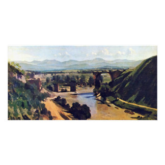 The Bridge At Narni By Corot Jean-Baptiste-Camille Customized Photo Card