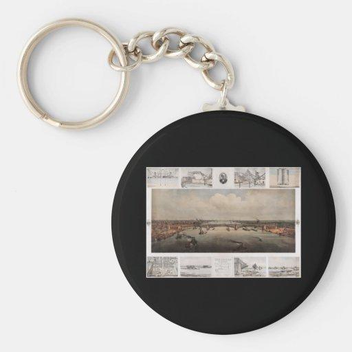 The bridge at St. Louis Missouri Basic Round Button Keychain