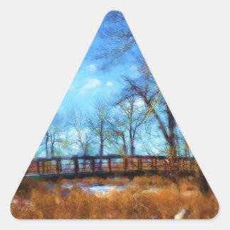 The Bridge in Autumn Modern Triangle Sticker