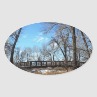 The Bridge in Autumn Natural Oval Sticker