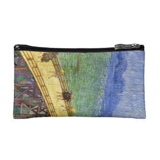 The Bridge in the Rain Vincent van Gogh fine art Makeup Bag