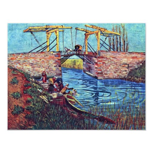 The Bridge Of L'Anglois By Vincent Van Gogh 4.25x5.5 Paper Invitation Card