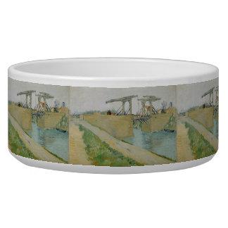 The Bridge of Langlois by Vincent Van Gogh Pet Bowls