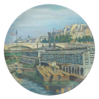 The Bridge of Louis Philippe, 1875 (oil on canvas) Melamine Plate