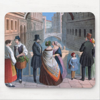 The Bridge of Sighs, Venice, engraved by Brizeghel Mouse Pad