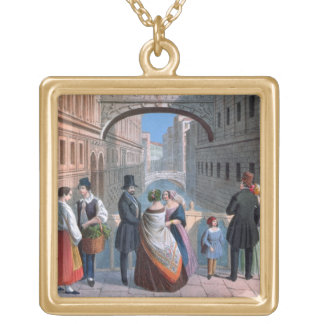 The Bridge of Sighs, Venice, engraved by Brizeghel Square Pendant Necklace