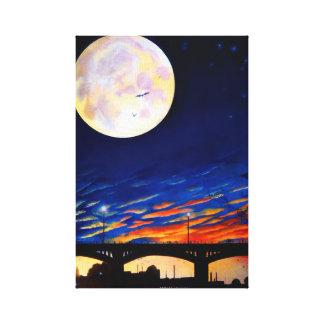 'The Bridge, The Moon, The Bats' Print Canvas Print