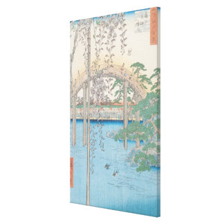 The Bridge with Wisteria or Kameido Tenjin Canvas Print