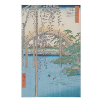 The Bridge with Wisteria or Kameido Tenjin Posters