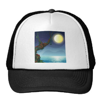 The bright moon and the big tree trucker hat