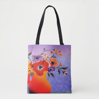 The Bright Red Vase of Flowers Tote Bag