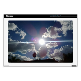 The Bright Sun Shining Through the Silver Clouds Decal For Laptop