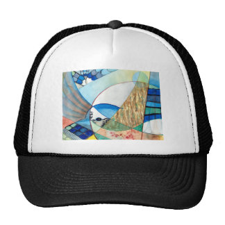 The Brilliant Bluejay Wildlife Painting Mesh Hats