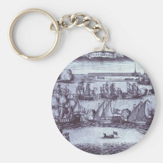 The Bringing of 4 Swedish Frigates in St. Petersbu Basic Round Button Keychain