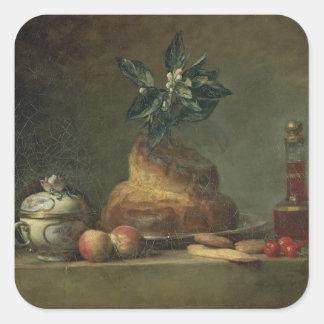 The Brioche or The Dessert, 1763 (oil on canvas) Square Sticker