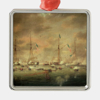 The British and American Fleets Engaged on Lake Bo Metal Ornament