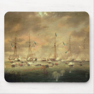 The British and American Fleets Engaged on Lake Bo Mouse Pad