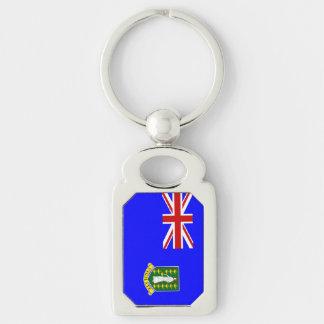 The British Virgin Islands Flag Silver-Colored Rectangular Metal Keychain