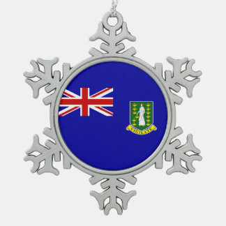 The British Virgin Islands Flag Snowflake Pewter Christmas Ornament