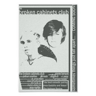 """""""the broken cabinets club"""" poster"""