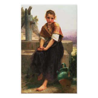 The Broken Pitcher by Bouguereau Poster