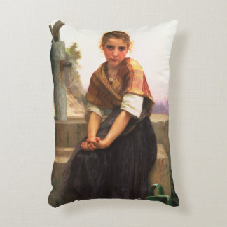 The Broken Pitcher by William-Adolphe Bouguereau Decorative Pillow