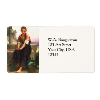 The Broken Pitcher by William-Adolphe Bouguereau Custom Shipping Label