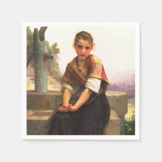 The Broken Pitcher by William-Adolphe Bouguereau Paper Napkin