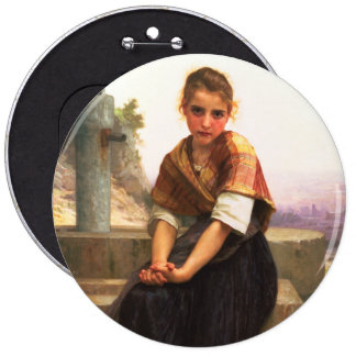 The Broken Pitcher by William-Adolphe Bouguereau Pinback Button