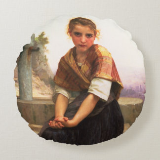 The Broken Pitcher by William-Adolphe Bouguereau Round Pillow