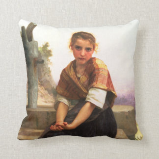 The Broken Pitcher by William-Adolphe Bouguereau Throw Pillow