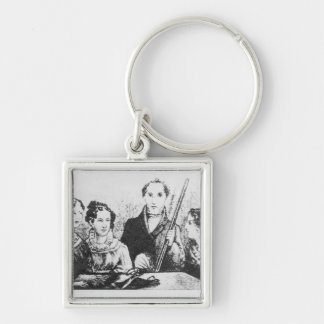 The Bronte Family Silver-Colored Square Keychain