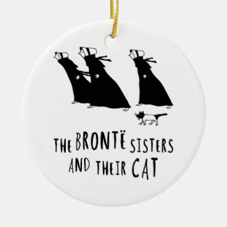 The Bronte Sisters and Their Cat Ceramic Ornament