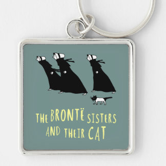 The Bronte Sisters and Their Cat Silver-Colored Square Keychain