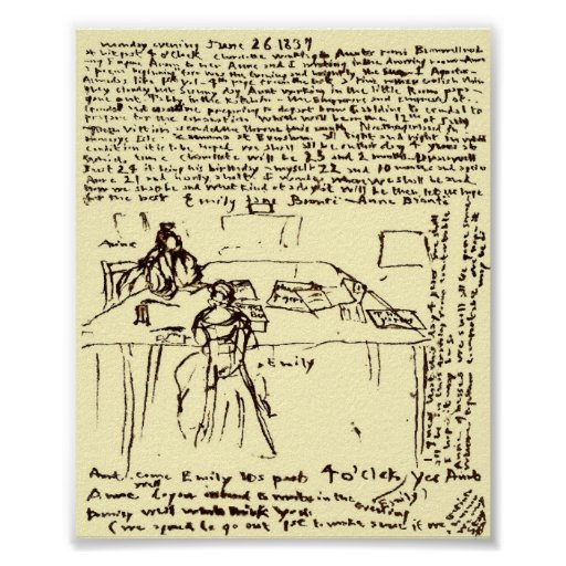 The Brontes ~ Emily & Anne's Diary Paper Restored Print