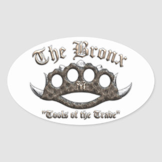 The Bronx - Spiked Brass Knuckles Oval Sticker