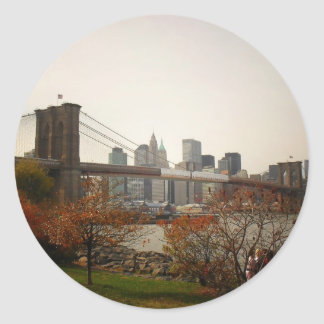 The Brooklyn Bridge and Autumn Trees, NYC Classic Round Sticker