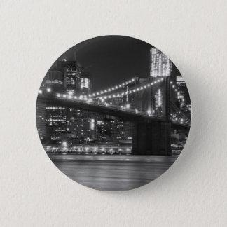 The Brooklyn Bridge - Black and White Pinback Button