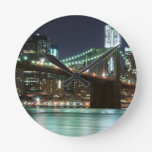 The Brooklyn Bridge - Color Round Wall Clocks