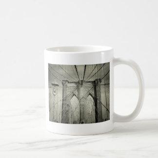 The Brooklyn Bridge in Black and White, NYC Coffee Mugs